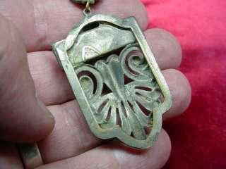 Antique ART DECO 1920s CINNABAR GLASS Silver Tone BOHEMIAN BEADED