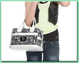 GUESS DYNASTY Box Satchel Bag Purse Large Black and White BNWT