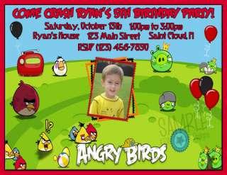 Angry Birds Custom Photo Birthday Invitations Invites