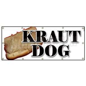 DOG BANNER SIGN weiner sauerkraut hot dog frank chili Patio, Lawn