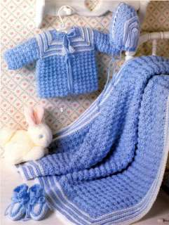 Baby Layette Sets Crochet French Knots Newborn Afghans+