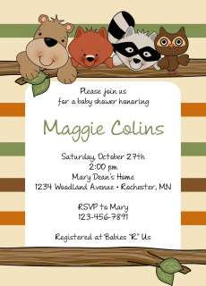 Woodland Forest Animals Baby Shower Invitations