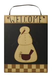 Home Decorating on Primitive Wood Snowman Welcome Sign Country Home Decor