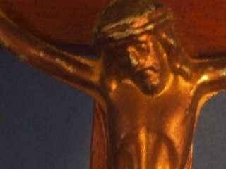 Vintage Catholic Wood & Metal Cross, Jesus, 8 X 4 1/4