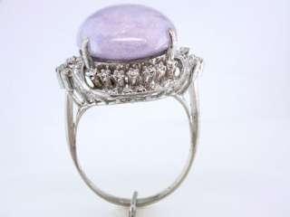 Antique Deco Genuine Jade Diamond .50ct 14K White Gold Engagement