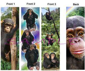 3set CHIMPANZEE BOOKMARK Wild Monkey Chimp Book Card Figurine Ornament