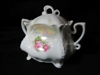 antique square pink roses double handle sugar bowl