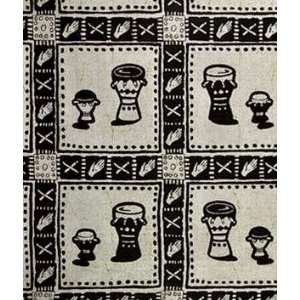 African Fancy Print Drums On Gray Fabric: Arts, Crafts