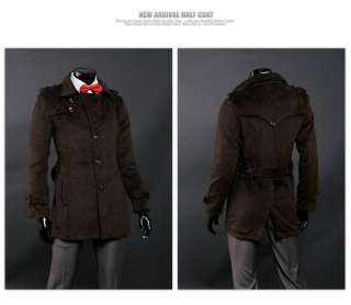 Mens Brown Cashmere Slim Fit Single Trench Coat US M