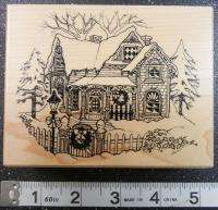 VICTORIAN WINTER HOUSE CHRISTMAS PSX Rubber Stamp #1372