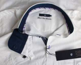 Mens Shirt STONE ROSE ROM 747 in White Black Rivet Collection Button