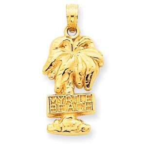 14k Gold Myrtle Beach Palm Tree Pendant Jewelry