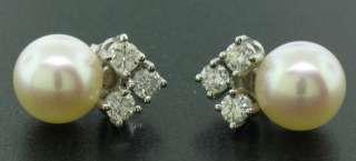 QUALITY 14k White Gold VS Diamond Large 9mm Pearl Stud Elegant Ladies