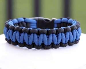 550 Paracord Survival Bracelet   Thin Blue Line Police