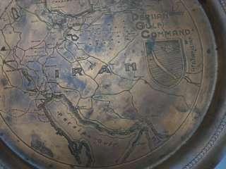 Combat RARE COPPER PLATE   PERSIAN GULF COMMAND WWII souvenir