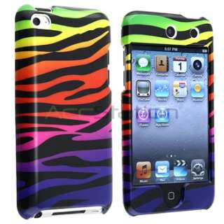 Hot Pink Leopard+Colorful Zebra Hard Skin Case Cover For iPod Touch 4