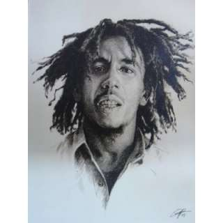 Bob Marley Sketch Portrait, Charcoal Graphite Pencil Drawing   Double
