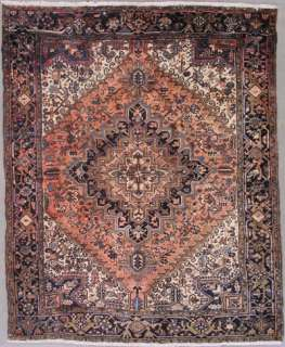 7x9 SALMON ANTIQUE PERSIAN HERIZ ORIENTAL HAND KNOTTED WOOL AREA RUG