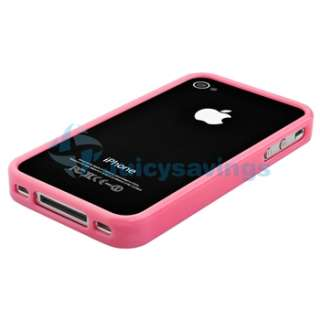 PINK CASE+CAR+HOME CHARGER+PRIVACY FILM for iPhone 4 G