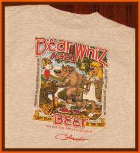 Bear Whiz Aged Beer Logo T Shirt L