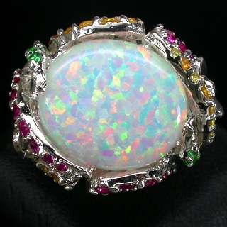 opal ruby garnet sapphire 925 silver ring white gold coating