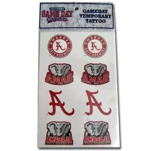 Alabama Crimson Tide Temporary Tattoo Decals 8 Pack