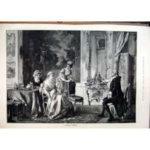 1891 Wealthy Patient Man Sitting Chair Women Tea Print