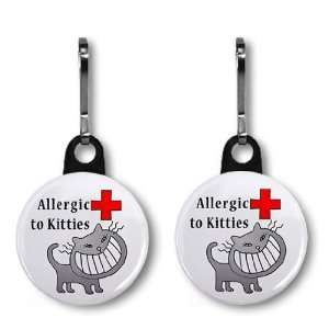 ALLERGIC TO CATS Medical Alert 2 Pack 1 inch Zipper Pull