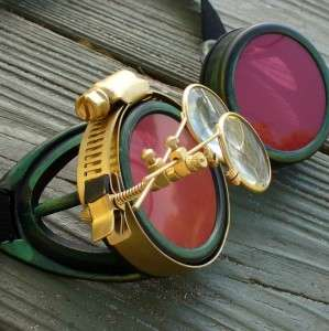 Steampunk Goggles Glasses cyber lens goth D green red Rave Biker