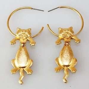 Adorable Gold Tone Dangling Cat on Hoop Earrings