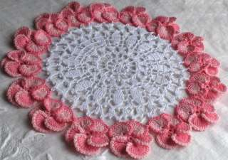 NEW HANDMADE TWO TONE PINK/WHITE CROCHET PANSY DOILY