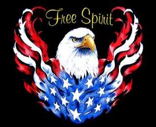 AMERICAN EAGLE SPIRIT FLAG BIKER SWEATSHIRT T SHIRT W66