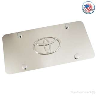 Toyota Chrome Logo On Stainless Steel License Plate