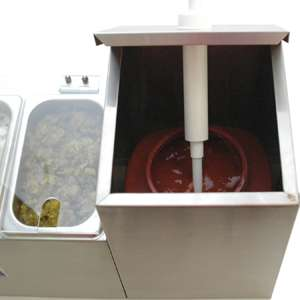Condiment Holder & Dispenser, 2 Pump, 3 Well Concession Station System
