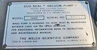 WELCH MODEL 1402 DUOSEAL VACUUM PUMP