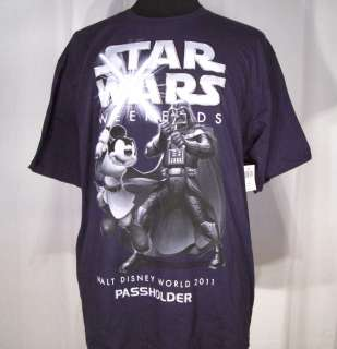 New Disney STAR WARS WEEKENDS PASSHOLDER blue T Shirt Mickey MOUSE