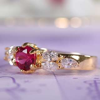 WEDDING Red Ruby Garnet Yellow 18K GOLD PLATED Lady Ring Jewelry Size