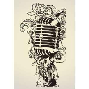Vinyl Wall Art Decal Sticker Urban Style Microphone Mic
