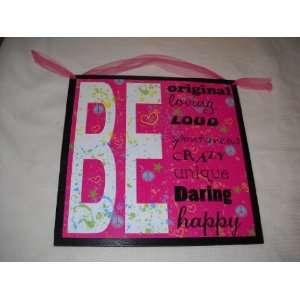 Daring Happy Girls Bedroom Wall Art Sign Peace Love