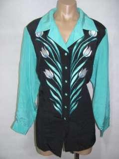 Bob Mackie Wearable Art Green Black 100% Silk Button Down Shirt Top