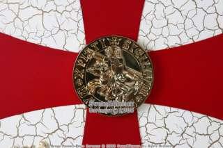 Knight Templar Royal Crusader Shield Red Cross w/ Grid