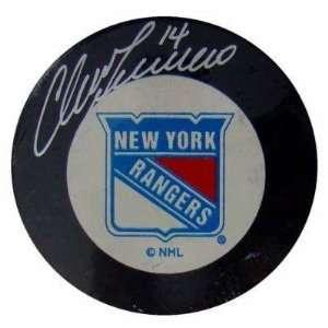 Rangers Hockey Puck w/Case   Autographed NHL Pucks