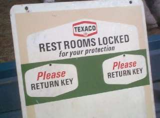 old Texaco Oil Gasoline Restroom Key Holding Sign Gas Service Station