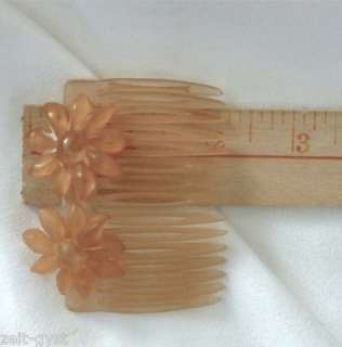 VINTAGE FRENCH FLORAL HAIR COMB SET SAND WASHED AMBER COLOR 2X 2.75