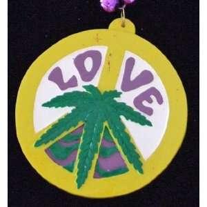 Love Mary Jane Pot Marijuana Mardi Gras Bead Necklace Spring Break