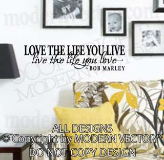 BOB MARLEY Quote Vinyl Wall Decal Inspirational Lettering LOVE THE