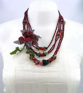 Agate Crystal Glass Beads Flower 5 Strands Layered Necklace 18