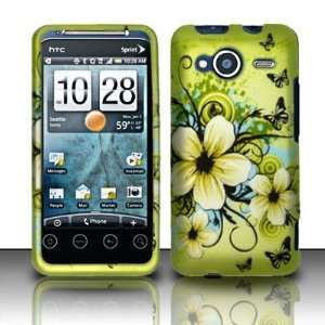 BUTTERFLY & FLOWERS Hard Rubber Feel Plastic Design Case for HTC Evo