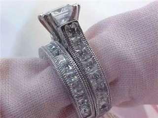 Antique Style Princess Cut Cz Engagement Wedding Ring Set 9