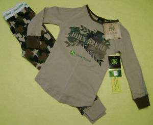 NWT John Deere Brown/Tan Camo Tractor Pajamas Size 4